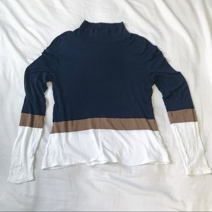 Blue Les Copains ColorBlock Lightweight Turtleneck